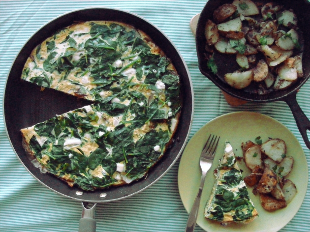 Spinach Frittata with Potato, Leek & Feta | Project Yum